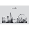 London city skyline silhouette in grayscale vector image vector image