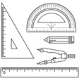 Set of measuring tools rulers triangles protractor vector image