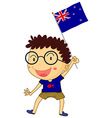 Boy and New Zealand flag vector image vector image