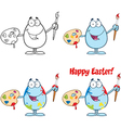 Egg Painter With A Brush Collection vector image