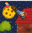 mouse climbs ladder to moon vector image