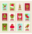 Set of postal stamps with Christmas and New Year vector image