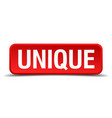 unique red 3d square button isolated on white vector image
