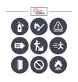 fire safety emergency icons extinguisher sign vector image