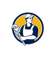 Plumber Wielding Monkey Wrench Circle Retro vector image