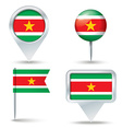 Map pins with flag of Suriname vector image
