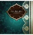 Lacy design with brown label on dark green vector image