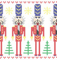 Nutcracker soldiers seamless Christmas Nordic vector image