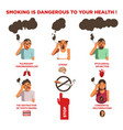 smoking cigarette harm health risk impact vector image