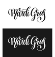 mardi gras black and white calligraphic lettering vector image