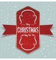Christmas greeting red Label and white Ribbon vector image vector image
