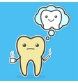 Sad yellow tooth with coffee and cigarette vector image