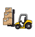 cart forklift with boxes vector image
