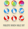 colorful beach balls set isolated vector image