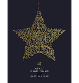 Gold Christmas and new year ornamental star shape vector image