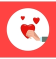 Hand hold red heart cartoon vector image