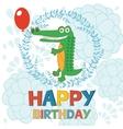 Happy birthday card with happy crocodile holding vector image