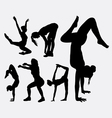 Aerobic sport female activity silhouette vector image