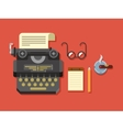 Typewriter with Sheet of Paper Glasses Notepad vector image
