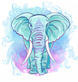 Indian Elephant on the Watercolor Blot vector image