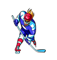Close-up of man playing ice hockey vector image vector image