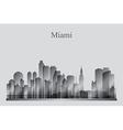 Miami city skyline silhouette in grayscale vector image