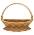 Empty wicker basket with handle Straw basket vector image