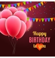 happy birthday card with pink balloons and vector image
