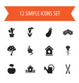 set of 12 editable planting icons includes vector image