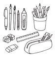 Brushes pencils pens ruler sharpener eraser icons vector image vector image