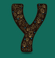 Letter y with golden floral decor vector image