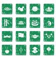 china travel symbols icons set grunge vector image