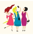 Three Young Women Friends Club vector image