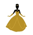 Black silhouette of princess in golden dress vector image