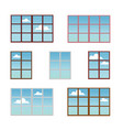 a set of window frames in different colors vector image