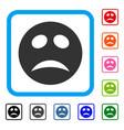 depression smiley framed icon vector image