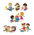 Kids Playing Indoors Set vector image