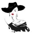 Modern girl sketch red lips white background vector image