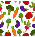 Seamless background with different vegetables vector image