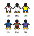 Set of FootbalSoccer team players vector image