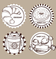 Sketch coffe and sweets shop logo vector image