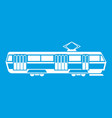 tram icon white vector image