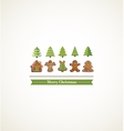 happy holiday card with christmas trees and vector image