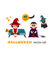 halloween clipart set with kids in costumes vector image