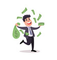 happy millionaire character sitting on a pile of vector image