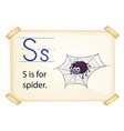 A letter S for spider vector image