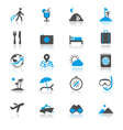 Traveling flat with reflection icons vector image