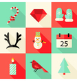 9 Christmas Flat Icons Set 3 vector image