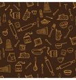 Seamless pattern with hand drawn cookware on the vector image