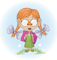 school girl with butterfly vector image